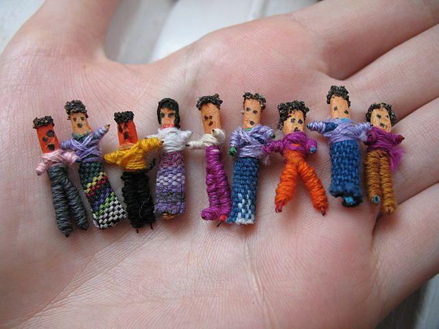 An assortment of worry dolls.