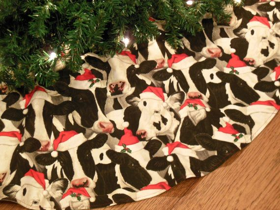 Small 24 Christmas Tree Skirt With Cows In Santa Hats Cow Gifts For Her Cow Decoration Farmhouse Tree Skirt Christmas Decorations Xmas Tree Skirts Unique Christmas Trees