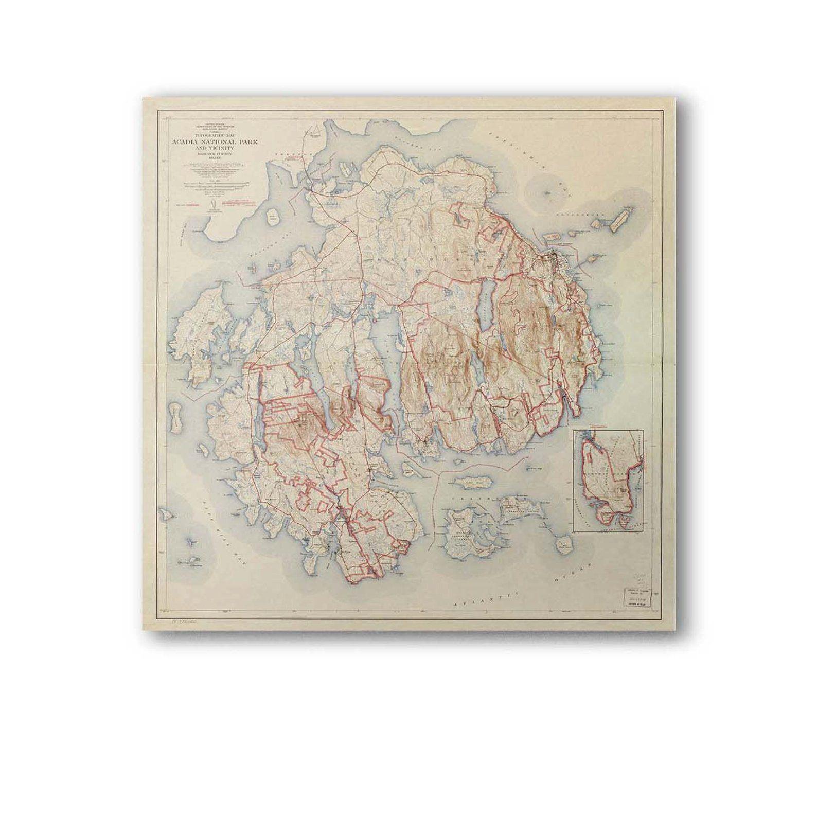 1942 Acadia National Park Map Mount Desert Island Etsy