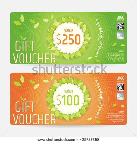 Gift certificate, voucher, coupon template in nature theme vector - coupon format