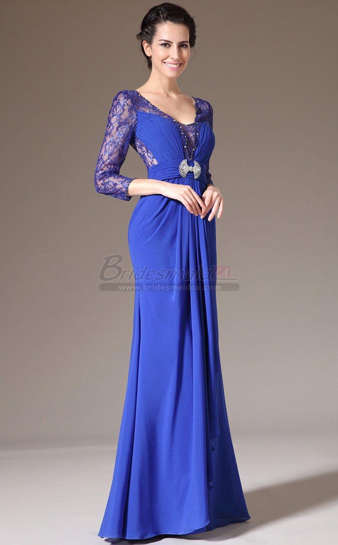 V neck long chiffon lace royal blue sheath bridesmaid dress with v neck long chiffon lace royal blue sheath bridesmaid dress with long sleeve jt ombrellifo Image collections