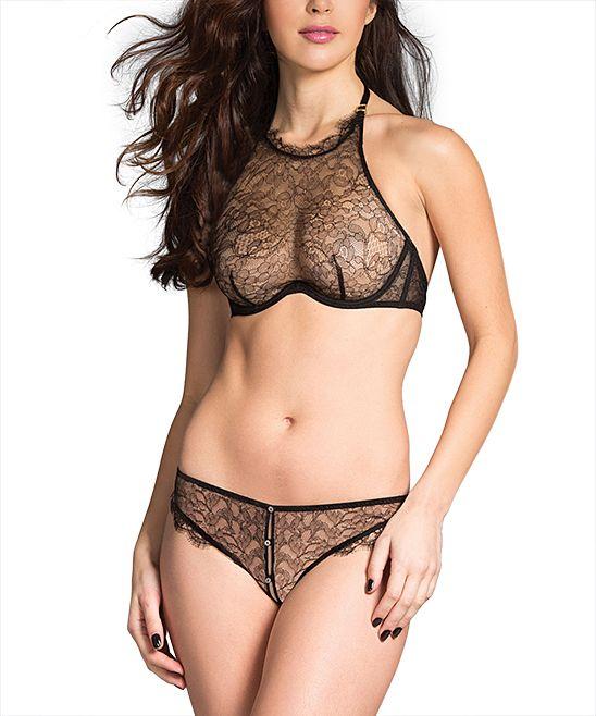 ee69670efb Black Sheer Lace Halter Bra   Peekaboo Bikini