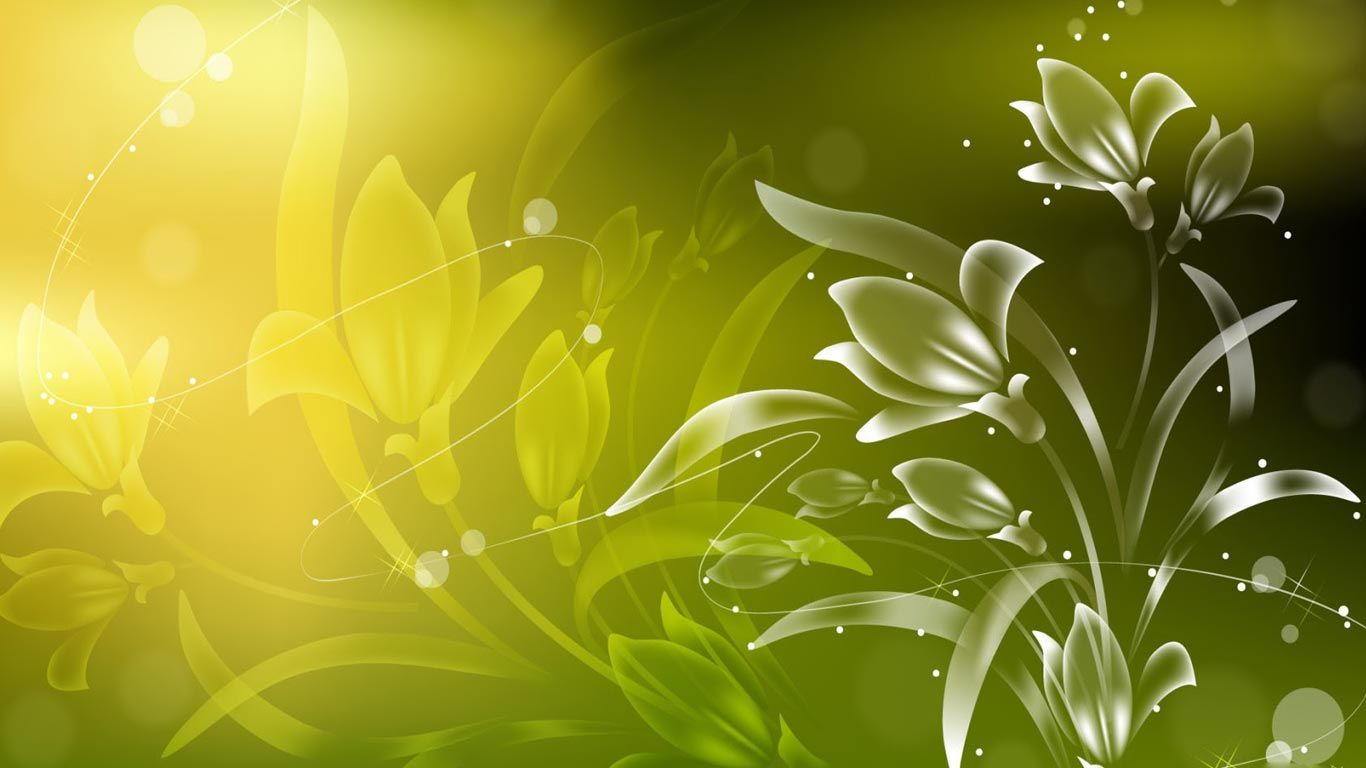 Vector Flowers Green Floral Wallpaper Abstract Wallpaper