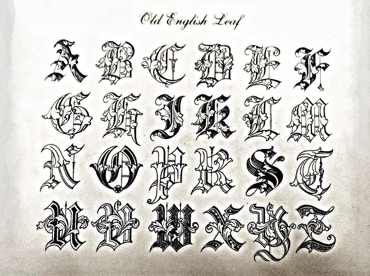 Old English Leaf Engraved Letter