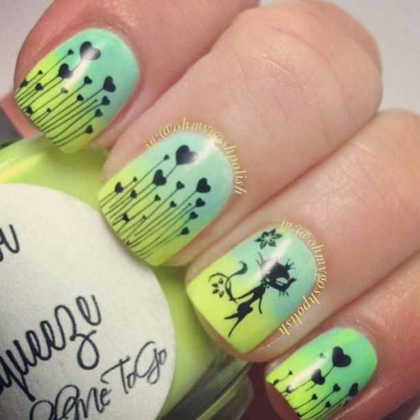 Cool black stamping over yellow/turquoise gradient!!! Love this ...