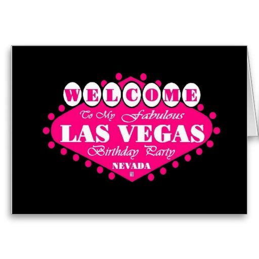 My Fabulous Las Vegas Birthday Party Card Pink