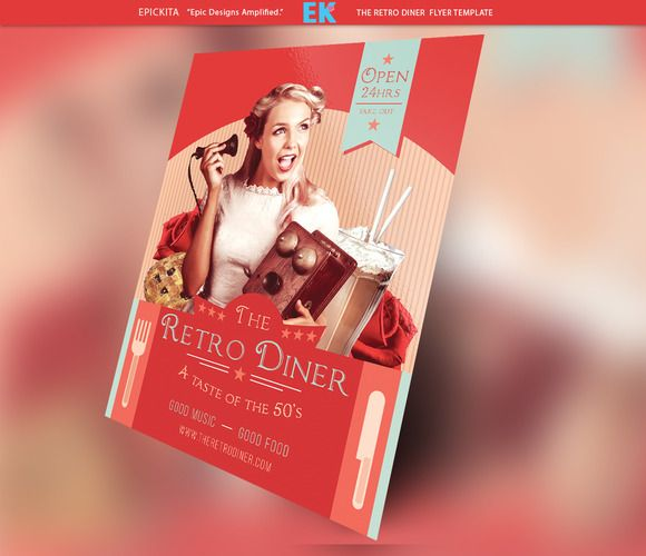 The Retro Diner Flyer Template  Flyer Template Diners And Retro