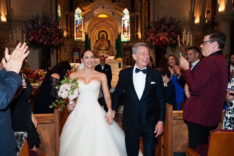 An Exclusive Look Inside Katharine Mcphee And David Foster S Wedding In London In 2020 Celebrity Bride Zac Posen Wedding Gowns Gorgeous Wedding