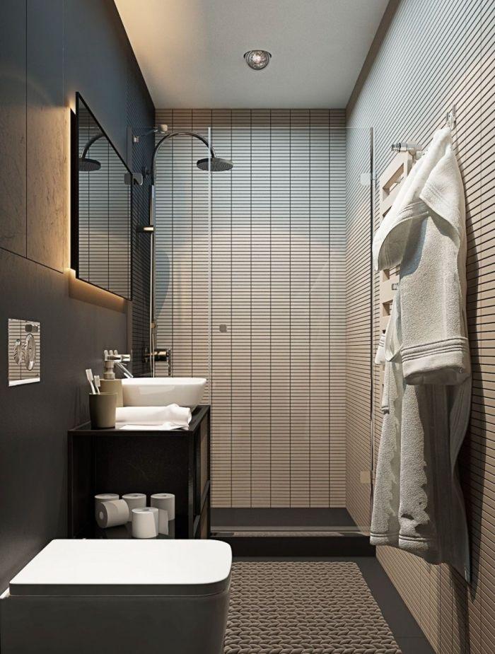 ▷ 1001 + designs impressionnants d\u0027une petite salle de bain moderne - salle de bain meuble noir