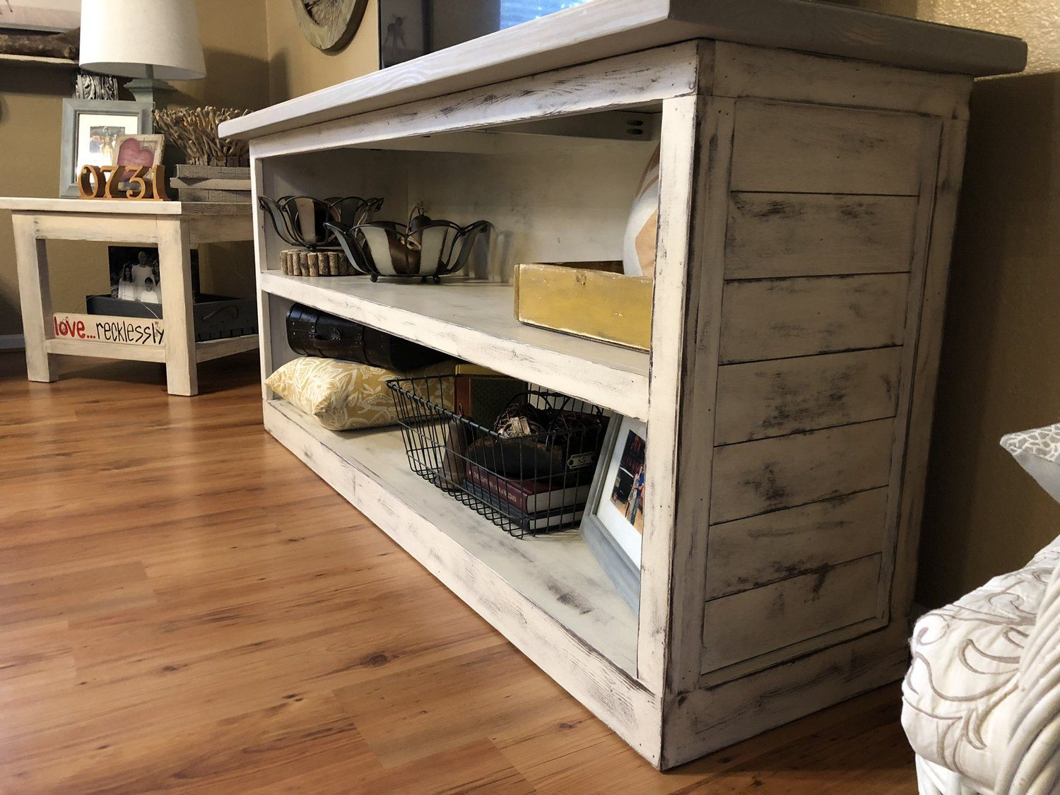 DIY Modern Farmhouse TV Stand (with shiplap ends