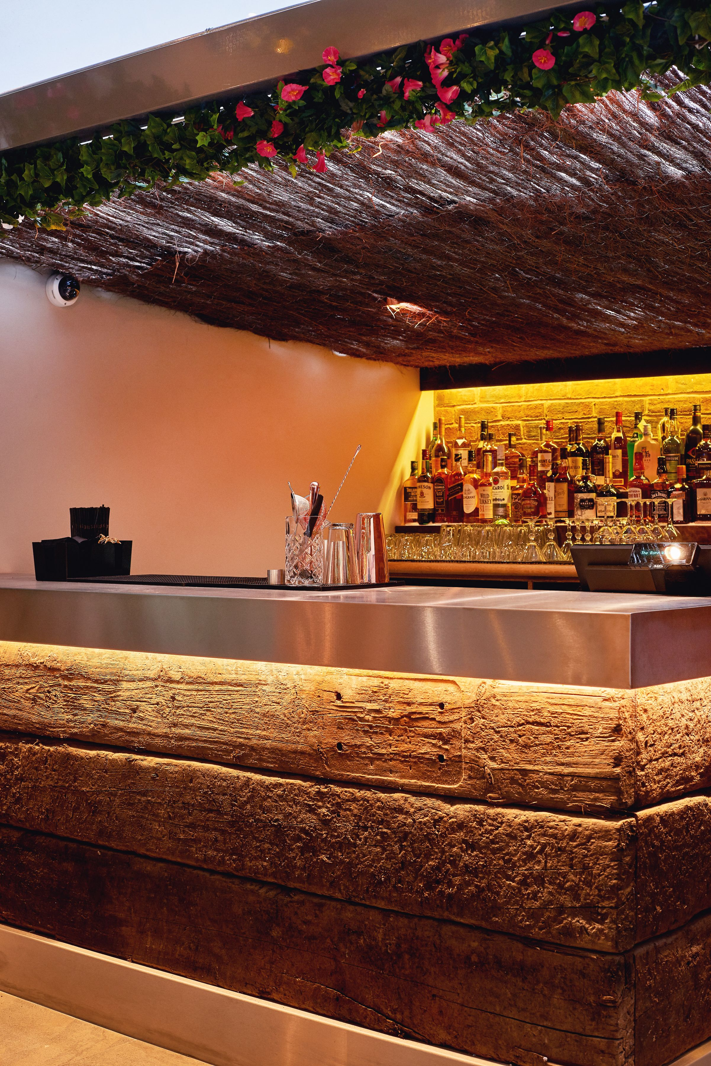 Outdoor Bar Area For Restaurant Chunky Sleeper Timber Bar Front