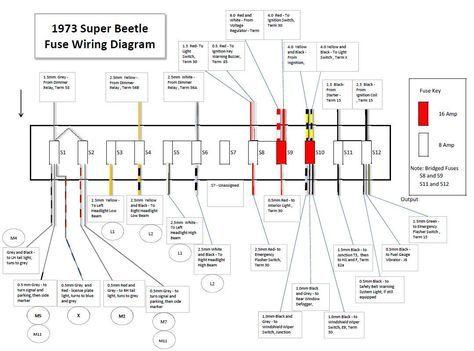 1973 Super Beetle Fuse Wiring Diagram In 2020 Vw Super Beetle Volkswagen Beetle Beetle
