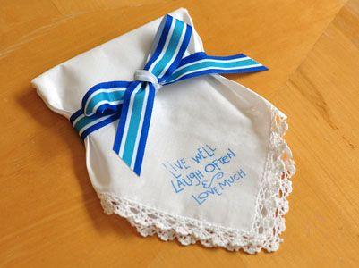How To Make A Stamped Wedding Hankie Favor DIY Tutorial