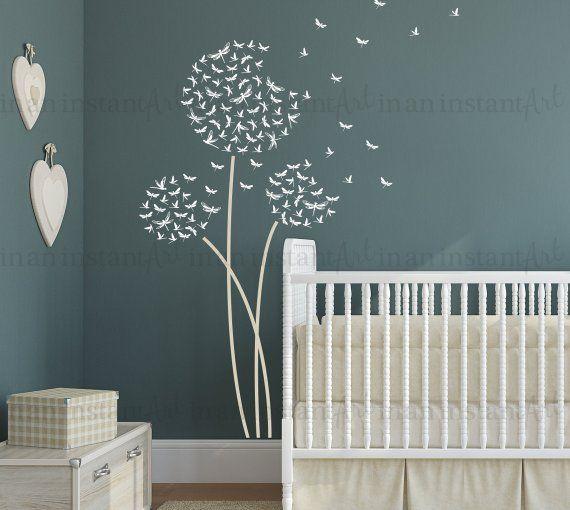 Dragonfly Dandelion Wall Decal | Custom Nursery, Children ...