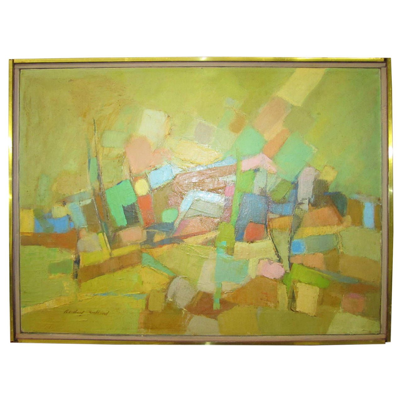 Lovely Audrey Salkind Abstract Oil Painting Mid-century Modern ...