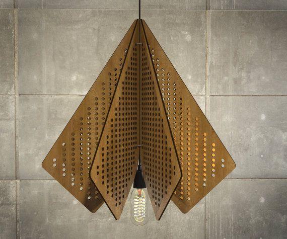 Wood Pendant Light Lasercut Chandelier Lamp Handmade