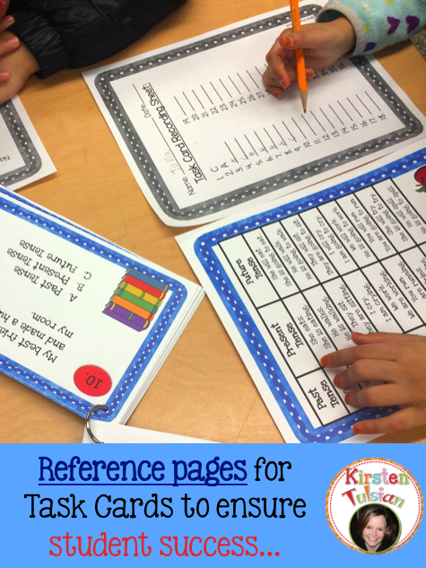 Task Cards products that include instructional pages (used as reference sheets) can help support students during independent work time.  All of the task card products in my store, Kirsten Tulsian, include instructional pages that can be used by students for reference…. and SUCCESS!