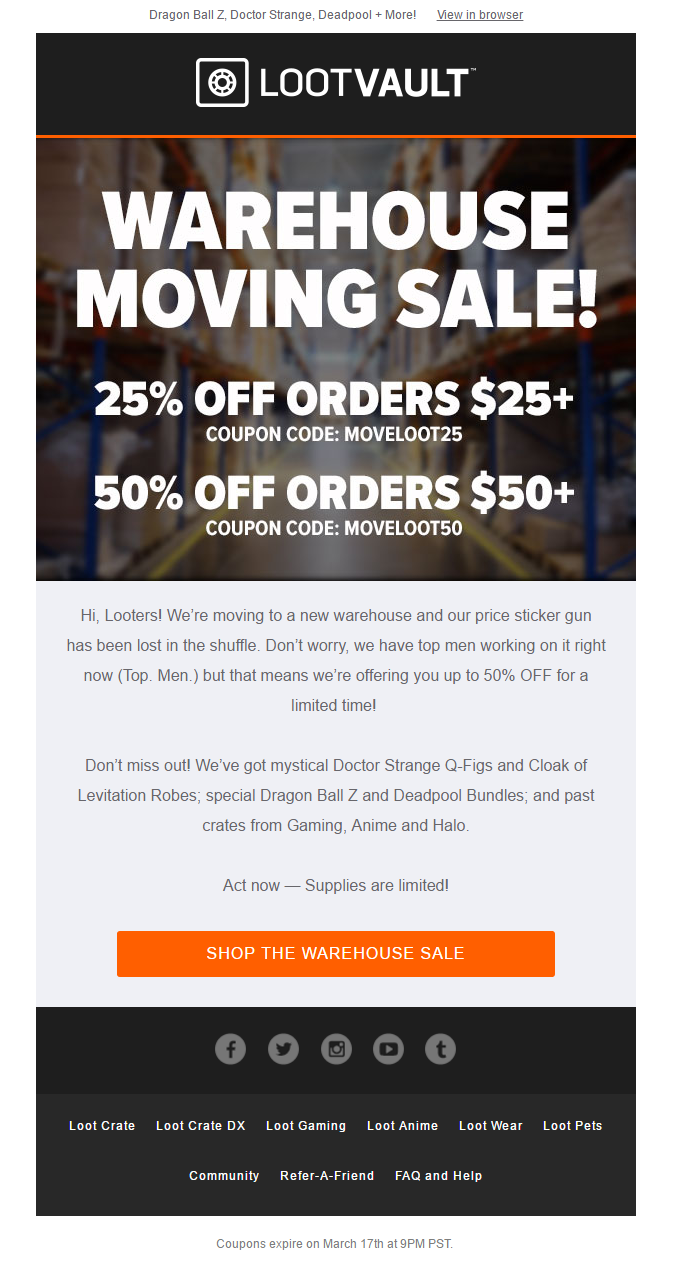 Sale Email From Lootcrate With Coupon Discount Codes For Different Offers Emailmarketing Email Marketing Sale Gifts Coup Loot Crate Price Sticker Coupons