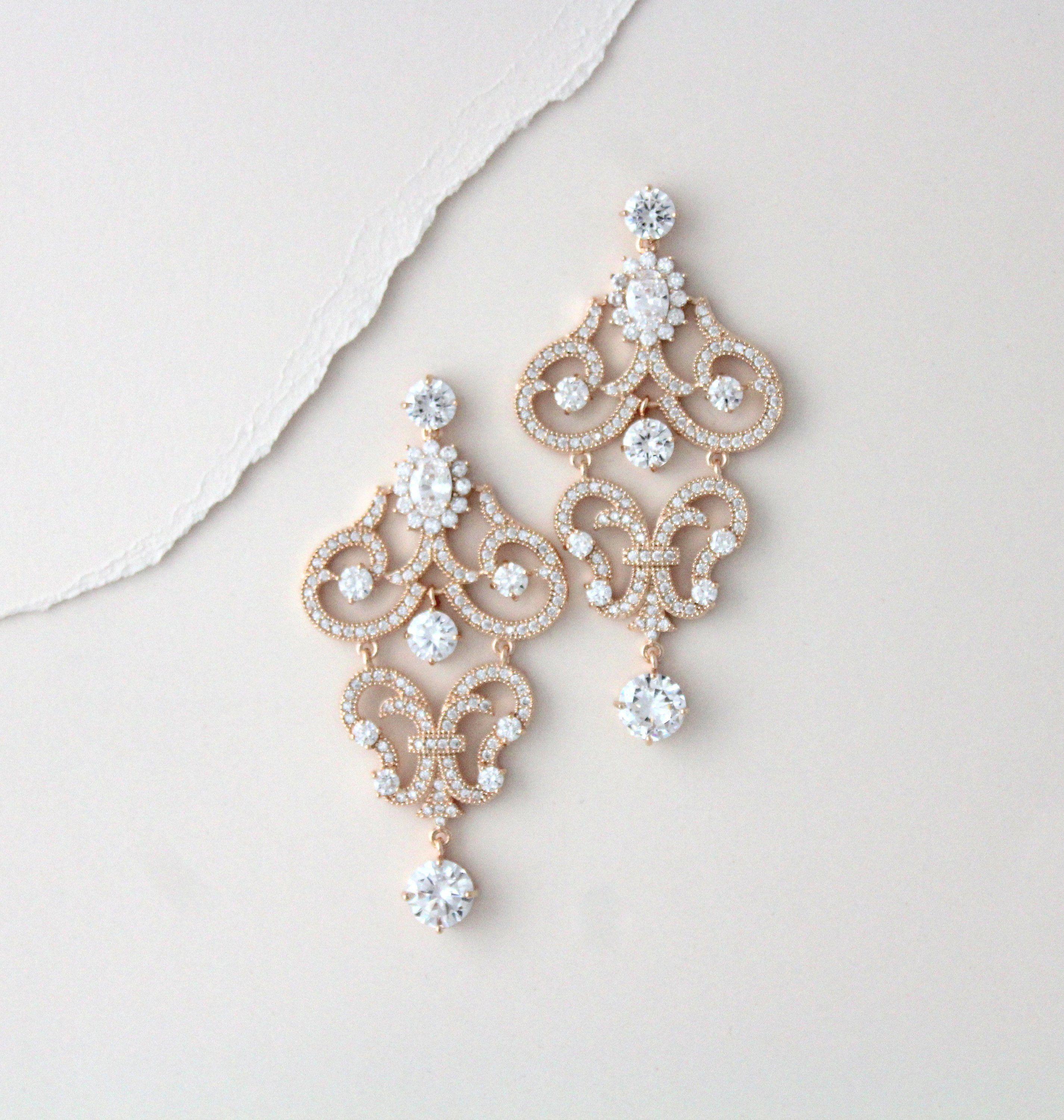 Rose Gold Bridal Earrings Bridal Jewelry Statement Chandelier Etsy Gold Bridal Earrings Rose Gold Bridal Jewelry Set Gold Chandelier Earrings Wedding