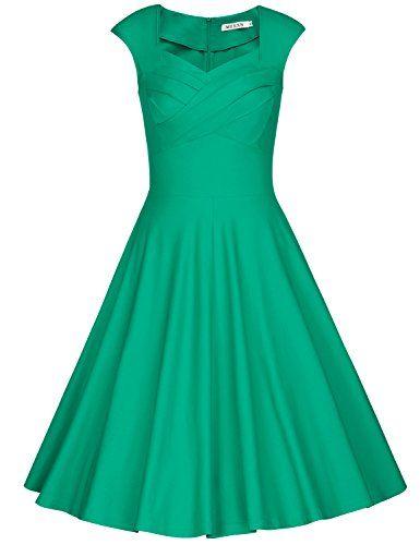 MUXXN Womens Retro 1940s Pleated Neckline Sleeveless Short Dress ...
