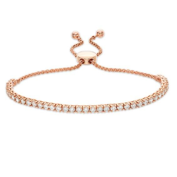 2 Ct T W Diamond Bar Bolo Bracelet In 10k Rose Gold 9 5 Diamond Bar Gold Rose Gold