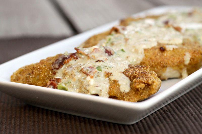 cornbread crusted chicken w/ jalapeno popper sauce