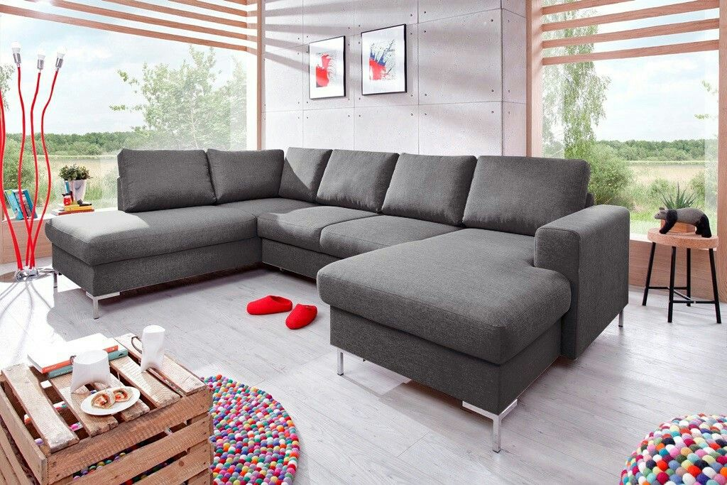 Bobochic Canape Lilly Panoramique Convertible Coffre Gris