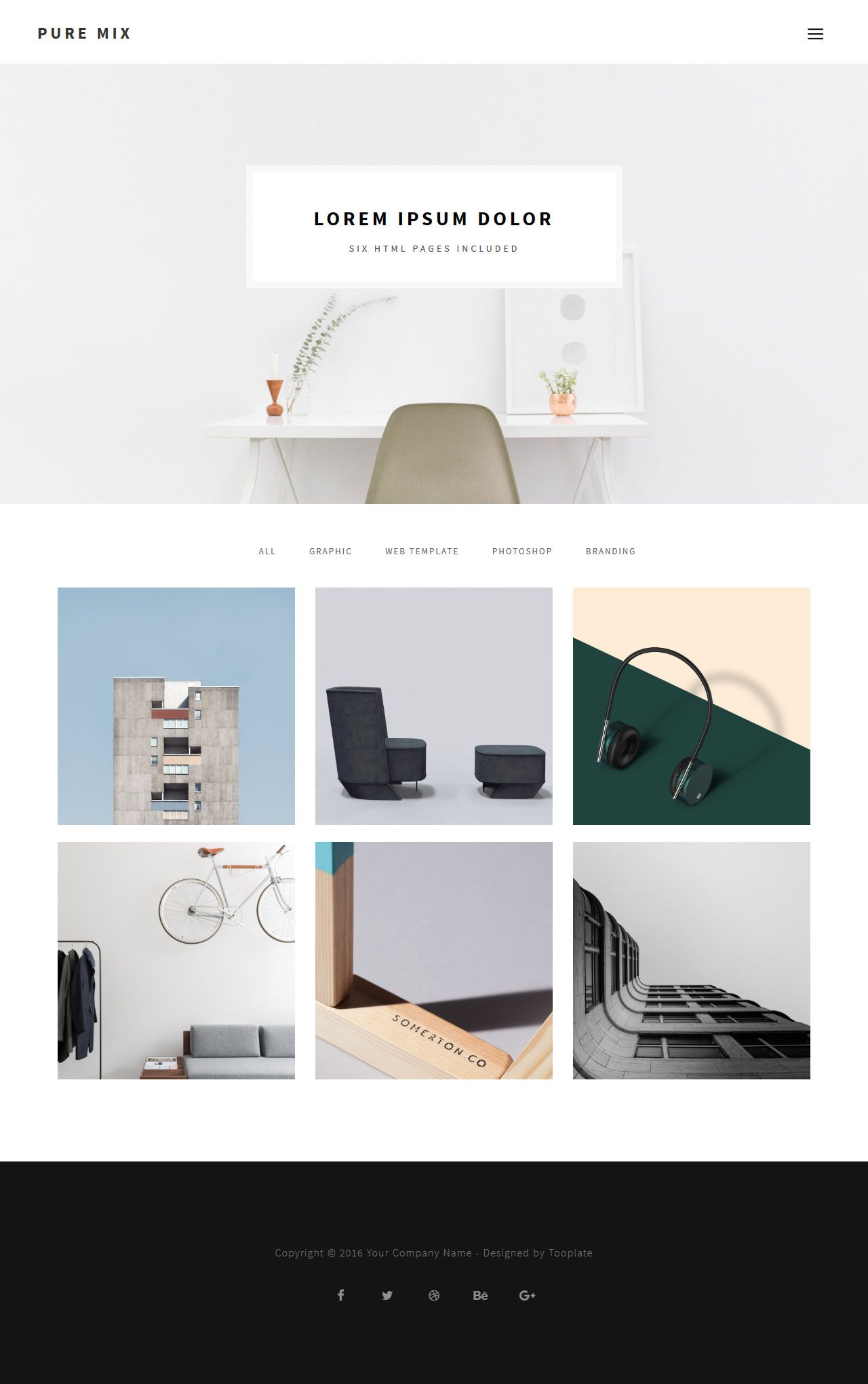 pure mix 6 pages html template - Free Html Pages