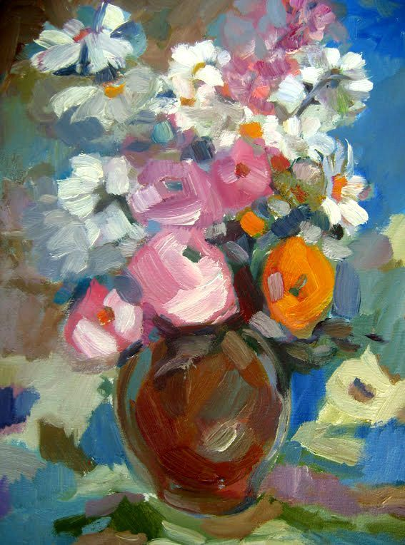 Oil painting summer flowers in a ceramic vase