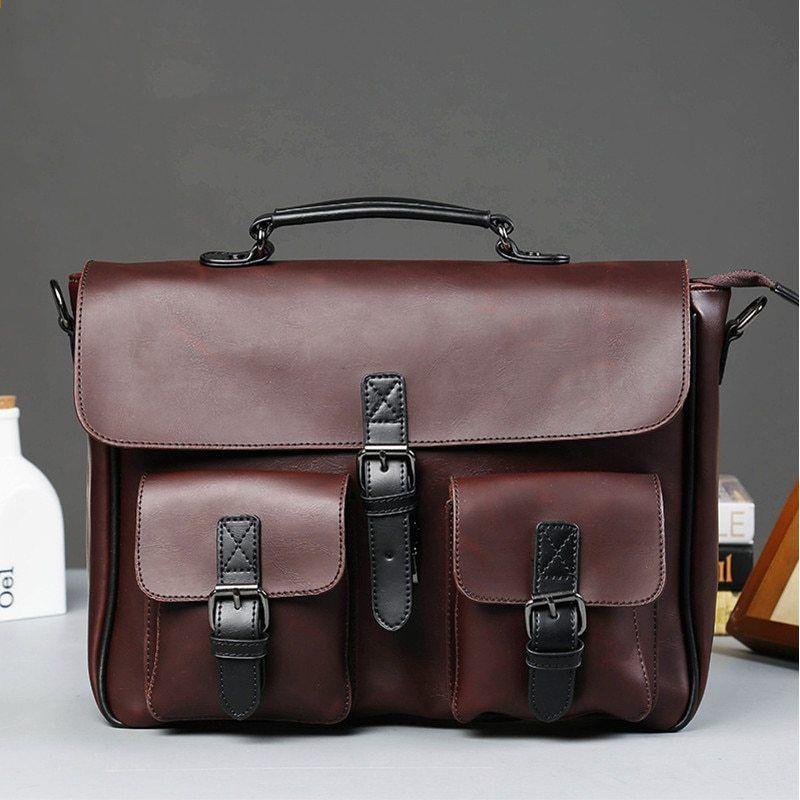 Vysoce kvalitní tašky pro muže Crazy Horse PU kožené Pánské kabelky  bulletin hombre Business Laptop tašky na rameno Aktovka Messenger taška 2cbbc686e83