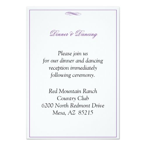 Simple Wedding Reception Purple Enclosure Accommodation Card
