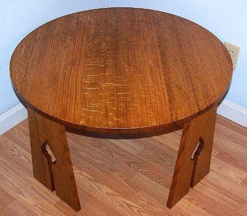 Arts Crafts Mission Craftsman Quarter Sawn Tiger Oak Coffee Table By Oac  Furniture. $335.00.