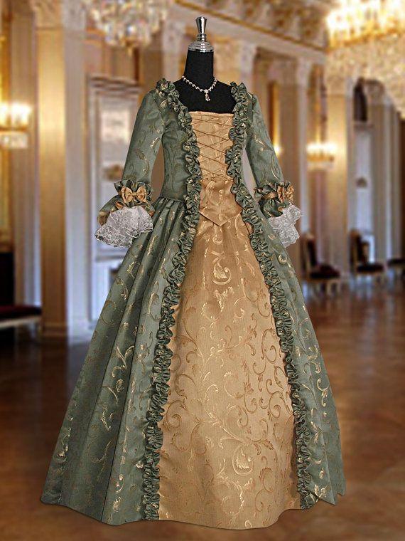 46ed32ae73 Baroque Renaissance Masquerade Dress No. 3 Green