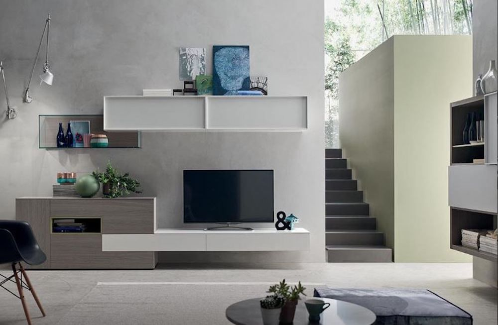 A torino soggiorno moderno parete attrezzata rovere vetro