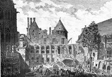 Paris Ier arr..  Vue de la démolition du Palais de justice  après l'incendie de 1876. Gravure d'après un dessin de Thierry, architecte (1777). B.N.