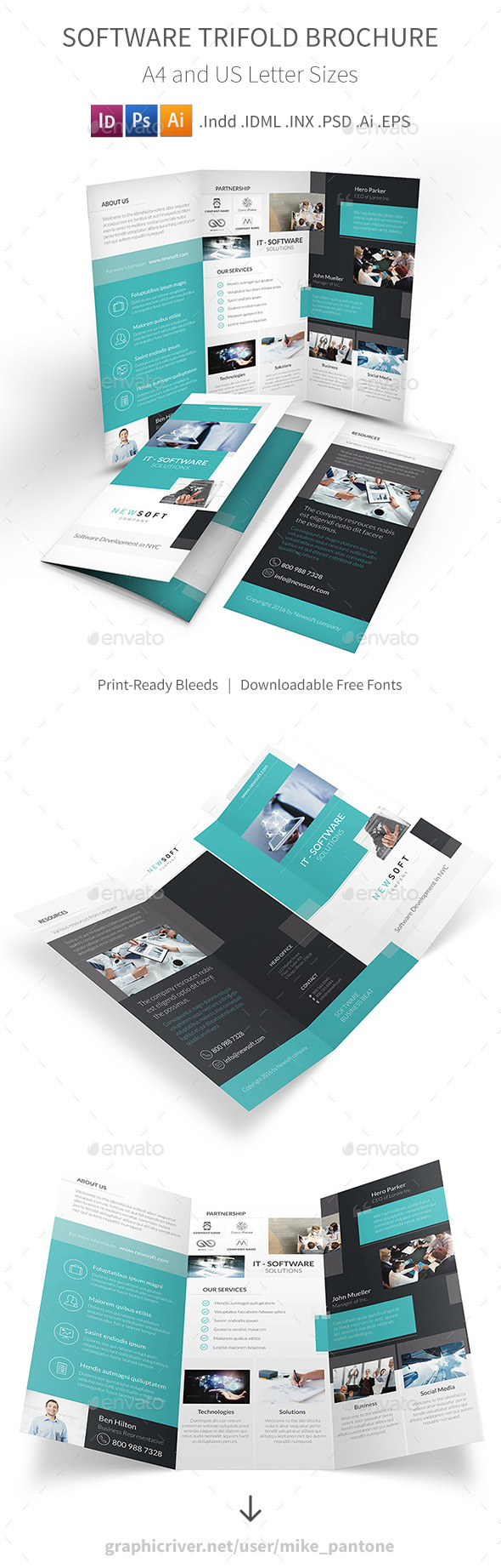 Software Company Trifold Brochure  Brochures Psd Templates And