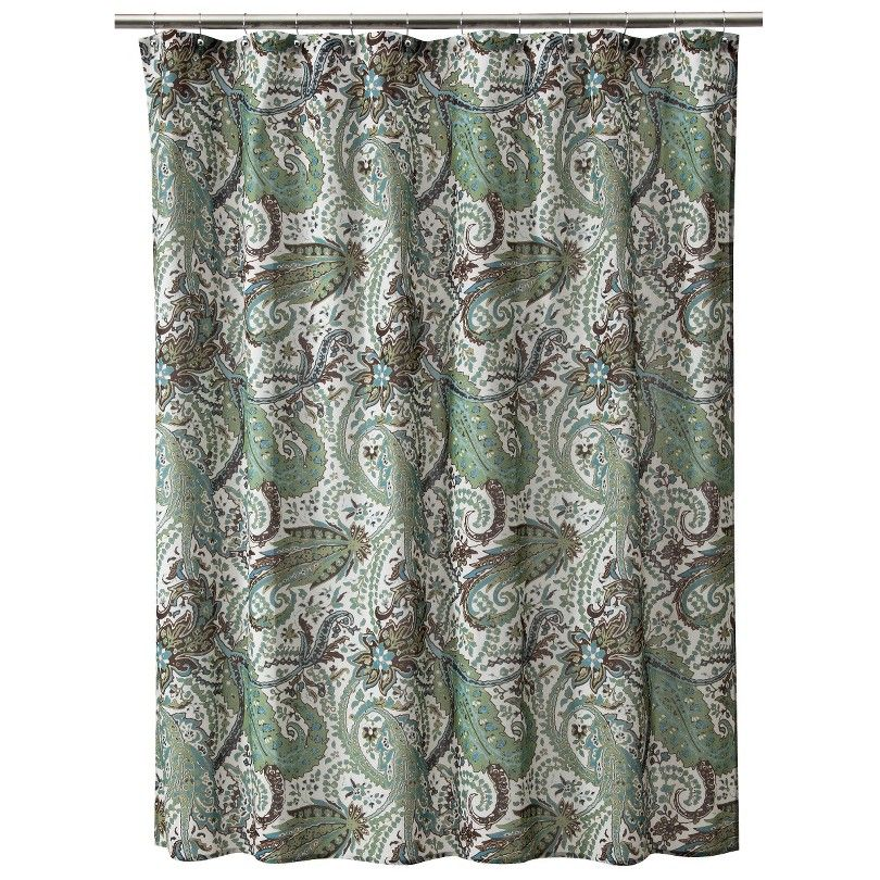 Threshold Shower Curtain Paisley Blue Brown Target Paisley