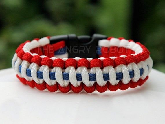 Paracord Survival Bracelet Patriotic Red White Blue