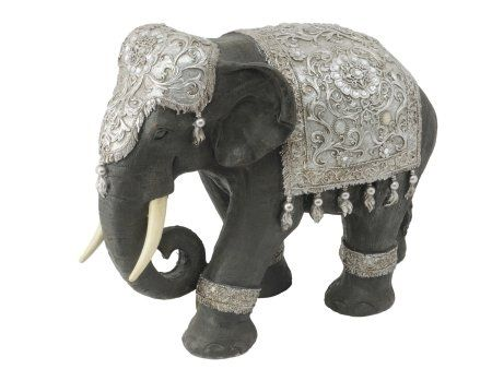 Silver Elephant Sculpture | Ornate Elephant Ornament | Decorated Elephant  Figurine | Fancy Elephant Ornament |