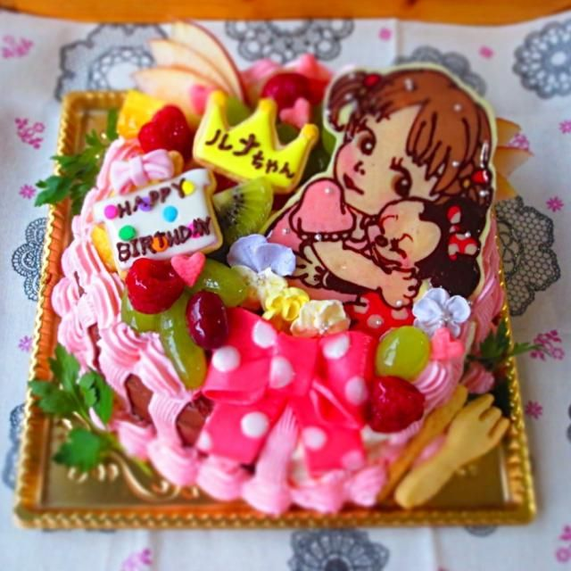SnapDishに投稿されたharukaさんの料理「似顔絵ケーキ (ID:PzaSfa)」です。「ミニーちゃんと仲良しバージョンです    o」ケーキ 似顔絵 似顔絵ケーキ