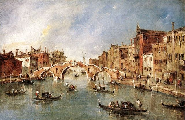 Francesco Guardi, Bridge with three arches in Cannaregio, 1770