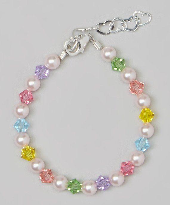 Pulsera de bebé de cristal de cristal de rosa y multicolor (BMCB)
