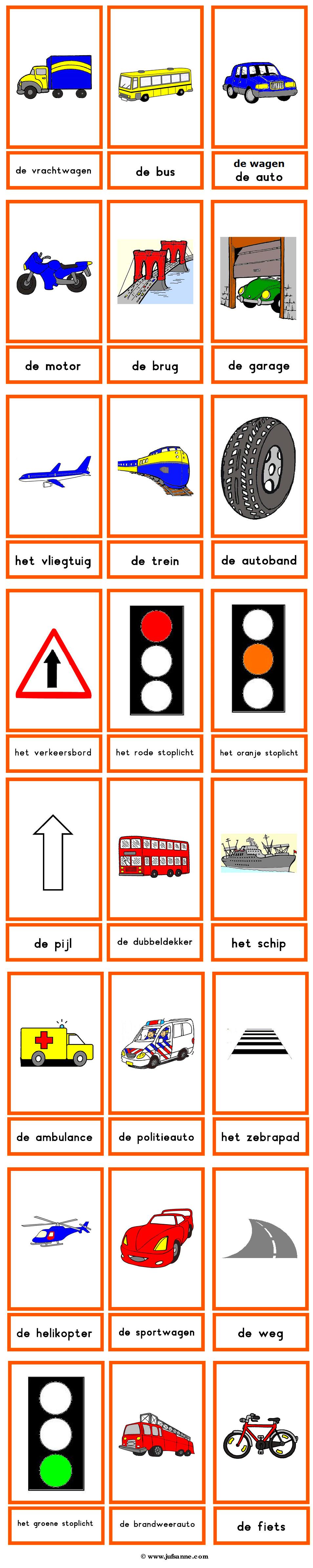 woordkaarten verkeer en vervoermiddelen vervoer thema