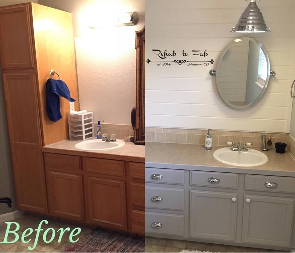 Charmant Master Bath Transformation With General Finishes Seagull Gray Milk Paint.