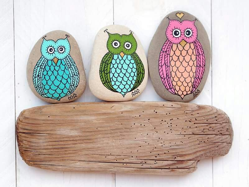 owl owls eule eulen  painting on stone painted art on