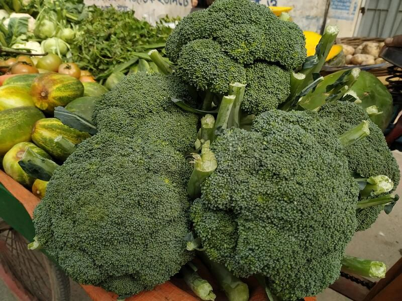 Broccoli in the market for sell raw vegetables stock
