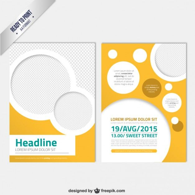 Modern brochure template with circles Free Vector flyer - free fundraising flyer templates