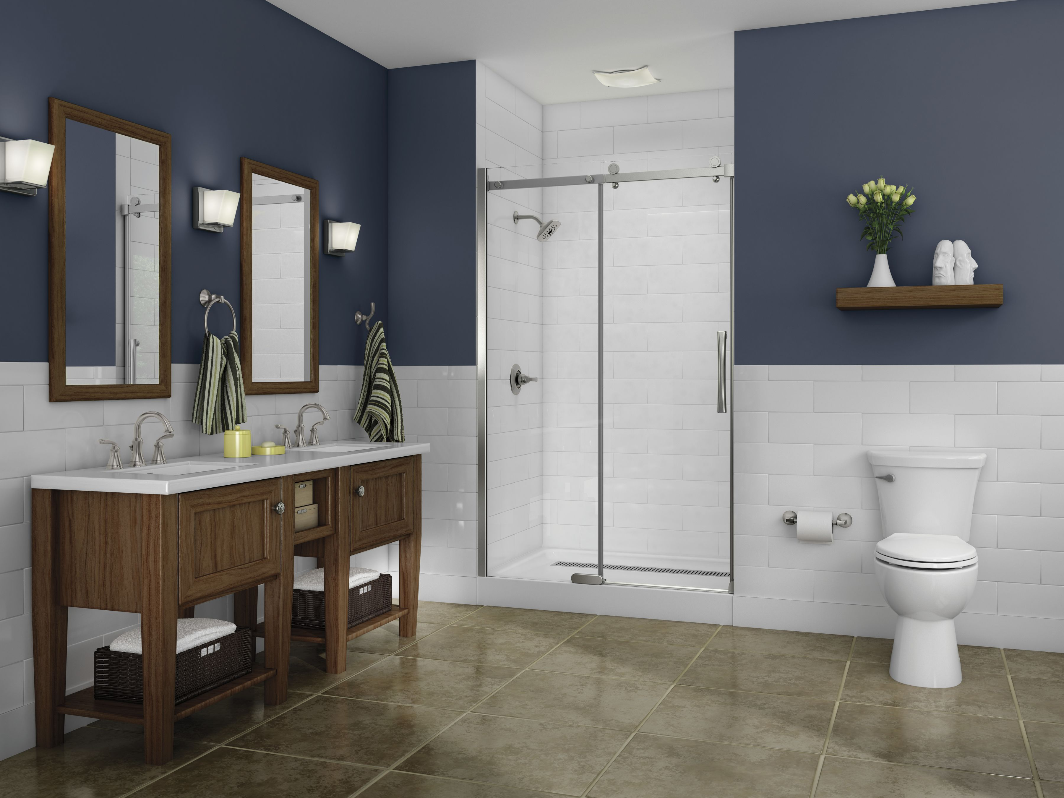 Steel Blue Bathroom With Wood Accents And White Ts Give It A Cottage Feel The