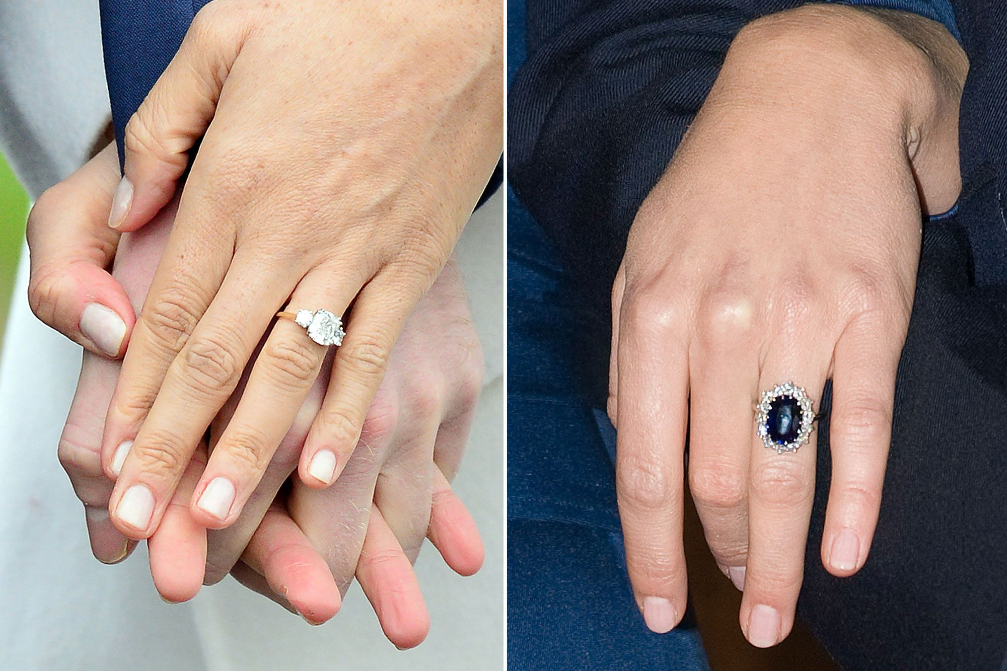 the rings the dresses comparing meghan markle and kate middleton s engagement photos kate middleton engagement ring royal engagement rings meghan markle engagement ring kate middleton engagement ring