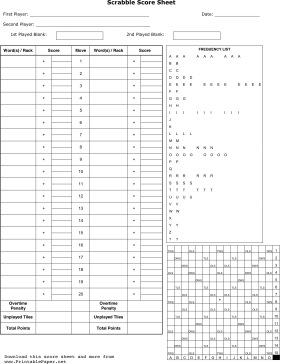 photograph relating to Printable Paper Games for Adults named Scrabble Rating Sheet Paper - and as a result quite a few further printable